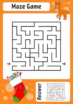 Labirinto. gioco per bambini. labirinto divertente foglio di lavoro per lo sviluppo dell'istruzione. pagina delle attività.