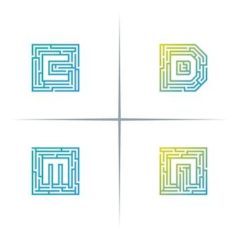 Labirinto iniziale lettera logo design set