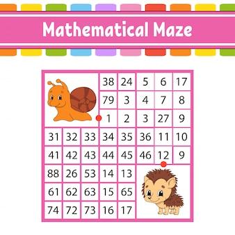 Labirinto matematico gioco per bambini. numero labirinto. foglio di lavoro per lo sviluppo dell'istruzione. pagina delle attività.