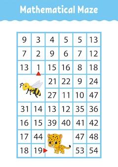 Labirinto matematico gioco per bambini. numero labirinto.