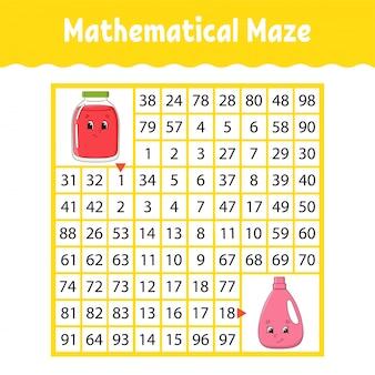 Labirinto matematico gioco per bambini.