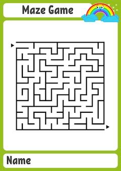 Labirinto quadrato astratto. fogli di lavoro per bambini. puzzle di gioco per bambini.