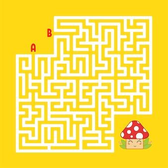 Labirinto quadrato astratto. trova la strada giusta per il simpatico fungo.
