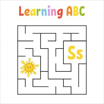 Labirinto quadrato gioco per bambini. labirinto quadrato. foglio di lavoro per l'istruzione.