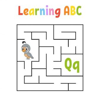 Labirinto quadrato gioco per bambini. uccello di quaglia. labirinto quadrato. foglio di lavoro per l'istruzione.