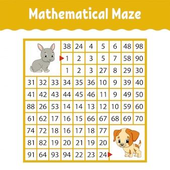 Labirinto quadrato matematico colorato. foglio di lavoro per lo sviluppo dell'istruzione. gioco per bambini.