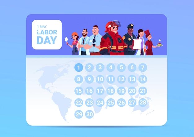 Labor day 1 maggio sul calendario con un gruppo di persone di diverse occupazioni di sfondo