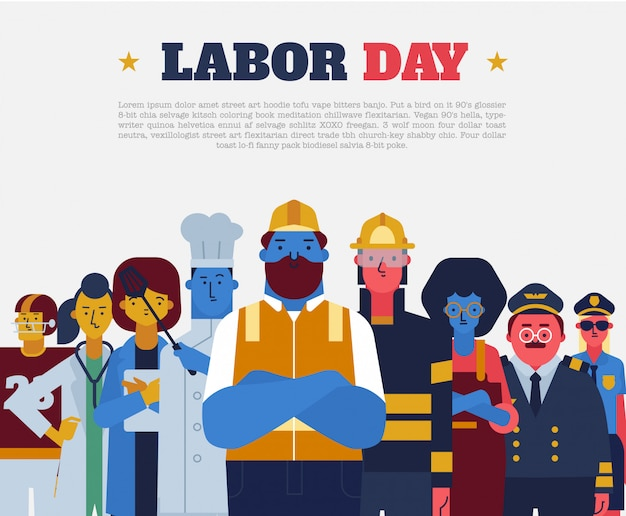 Labor day flat vector