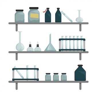 Laboratorio chimico scientifico. mensole con strumenti scientifici.