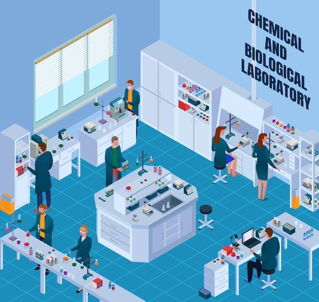 Laboratorio di chimica biologica con scienziati durante il lavoro di ricerca attrezzature ed elementi interni isometrici