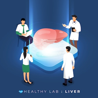 Laboratorio di concetto isometrico tramite analisi medico medico sano sul fegato. educazione scientifica al lavoro di squadra. illustrare.