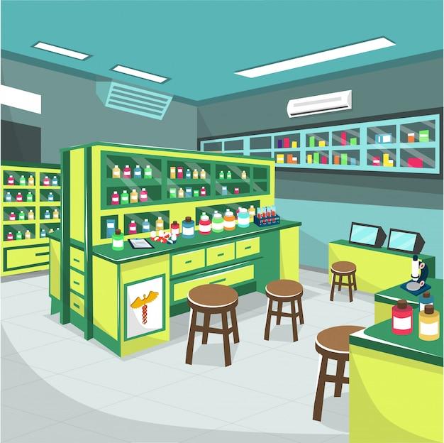 Laboratorio di farmacia medica presso la stanza d'ospedale