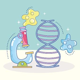Laboratorio di ricerca genetica di molecole di dna del microscopio scientifico