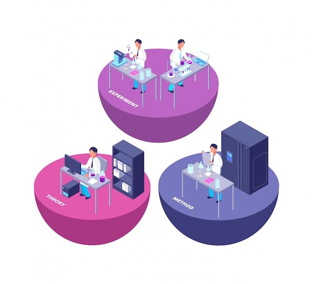 Laboratorio di ricerca isometrico di chimica 3d con l'attrezzatura di laboratorio chimica e l'illustrazione creativa della gente