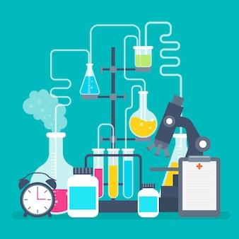 Laboratorio scientifico di design piatto