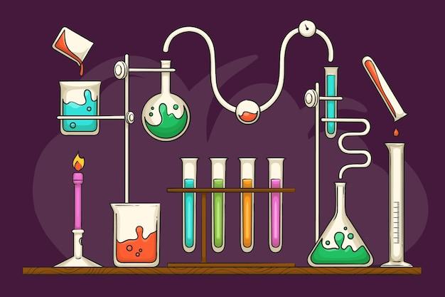 Laboratorio scientifico disegnato a mano