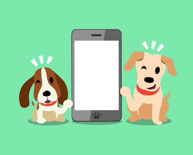 Labrador e segugio con smartphone