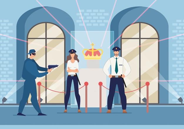 Ladro cercando di rubare la corona minaccia la guardia di sicurezza
