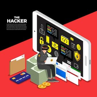 Ladro cyber di attività di concetto di design piatto hacker sul dispositivo internet.