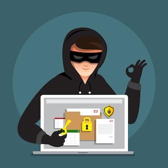 Ladro cyber di attività di hacker di concetto di design piatto sul dispositivo di internet. illustrare.