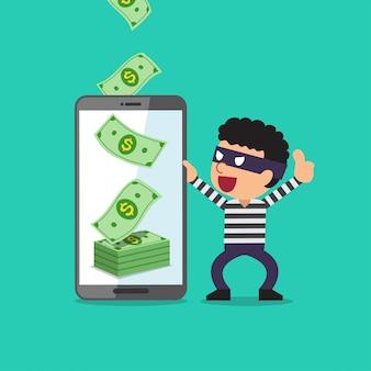 Ladro di aiuto dello smartphone del fumetto di concetto di affari per guadagnare soldi