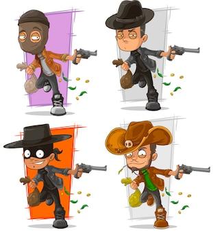 Ladro di banca del fumetto con set di caratteri di denaro