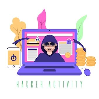 Ladro pirata informatico che ruba informazioni da altri account