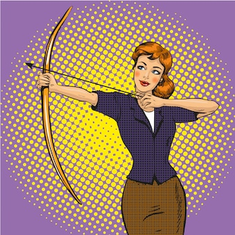 Lady archer in stile pop art