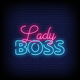 Lady boss neon signs style text