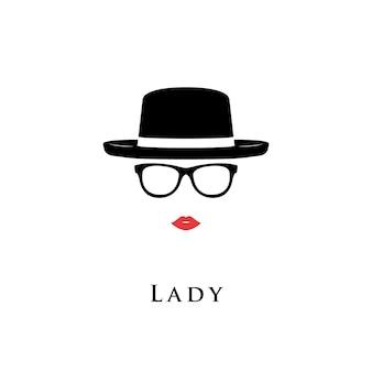 Lady ritratto di occhiali e cappello.