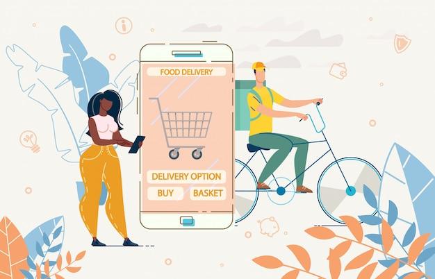 Lady use mobile app per l'illustrazione di consegna del cestino dell'alimento di ordine