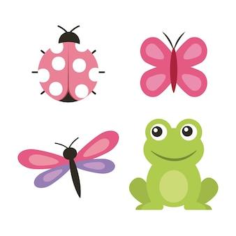 Ladybug della farfalla della libellula della rana sveglia