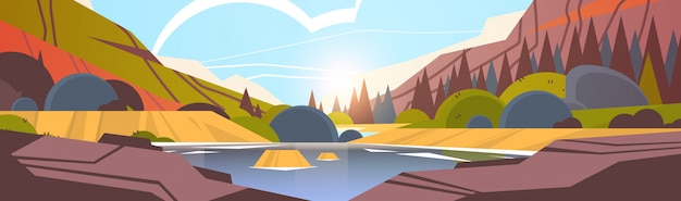 Lago davanti all'orizzontale del fondo della natura del paesaggio della foresta di tramonto della catena montuosa bello