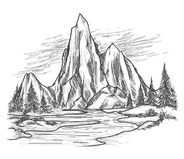 Lago di montagna con alberi di pino