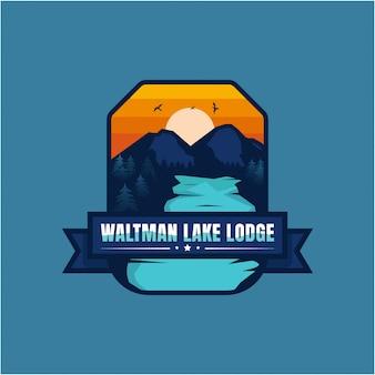 Lago logo montagna vintage