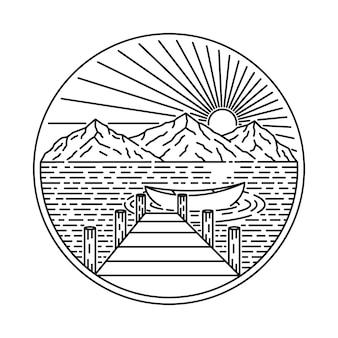 Lake camp hike nature wild line illustrazione grafica art t-shirt design