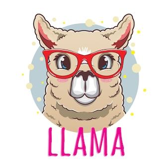 Lama carini con bellissimi occhiali rossi