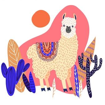 Lama carino con foglie e cactus