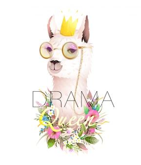 Lama drama queen cool t shirt design con citazione