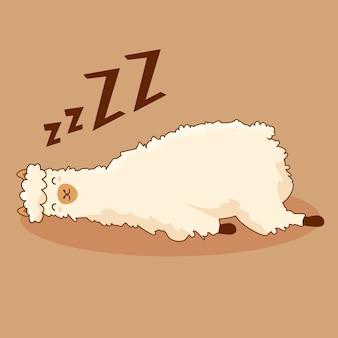 Lama pigro kawaii di sonno sveglio animale del personaggio dei cartoni animati dell'alpaga