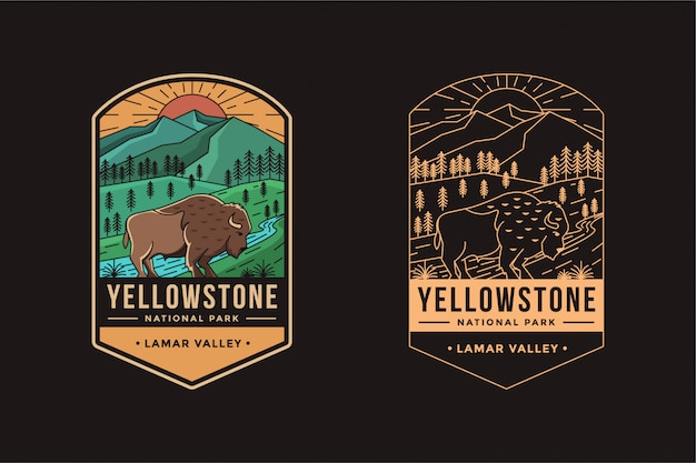 Lamar valley of yellowstone national park emblema distintivo logo illustrazione