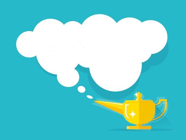 Lampada dorata con l'illustrazione della nuvola isolata