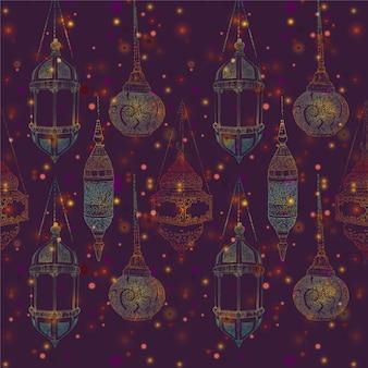 Lampada ethnic design pattern di sfondo