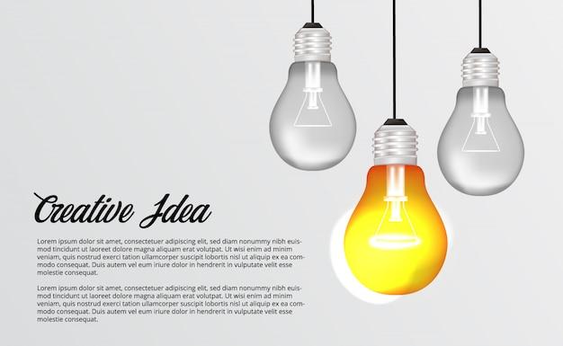 Lampada leggera d'attaccatura 3d per il brainstorming del concetto creativo dell'illustrazione della soluzione di idea