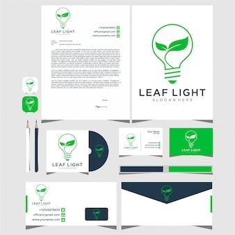 Lampada naturale, illuminazione, foglia, idea, biglietto da visita con logo creativo e design di cancelleria