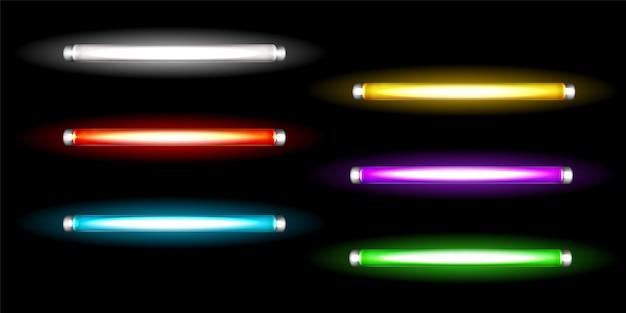 Lampade a tubo al neon, lunghe lampadine colorate fluorescenti