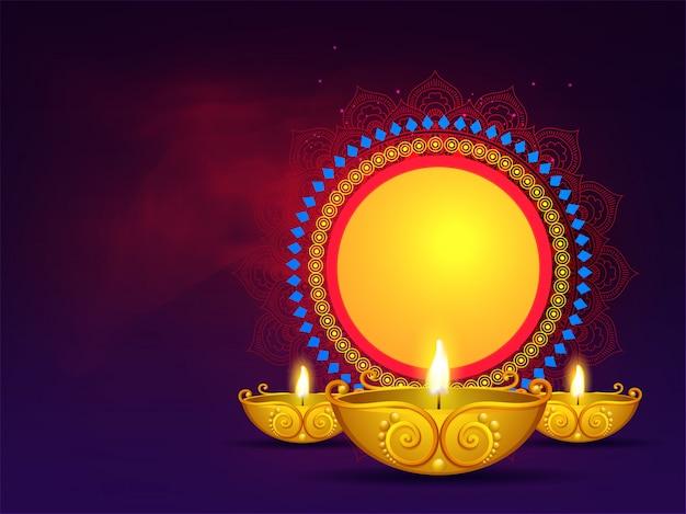 Lampade ad olio dorate illuminate con cornice circolare vintage. può essere utilizzato come design per biglietti di auguri.