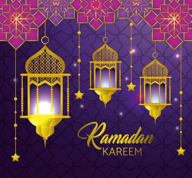 Lampade con stelle che pendono al ramadan kareem