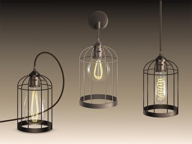Lampade in stile loft con lampadine a incandescenza di forma diversa riscaldate a filamenti