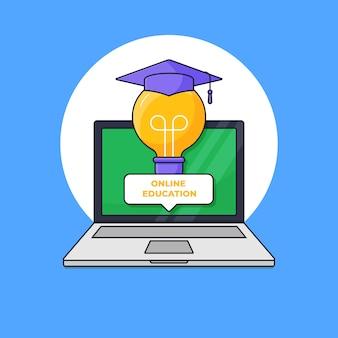 Lampadina astuta con il cappello graduato di toga dallo schermo del computer portatile per l'illustrazione online digitale di vettore di concetto di graduazione
